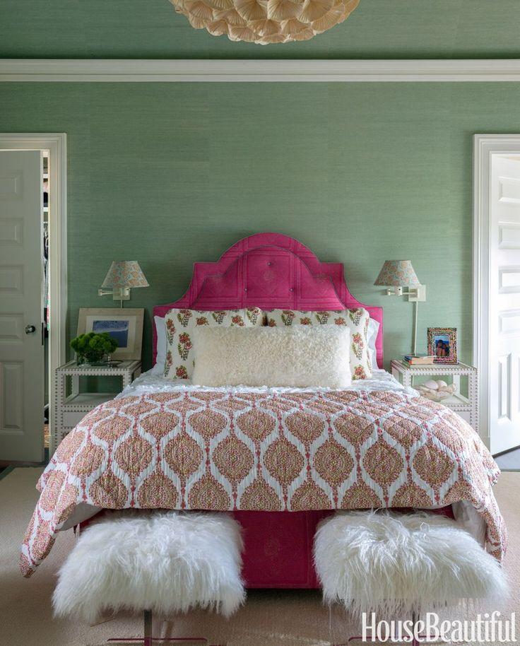 Celadon & magenta bedroom