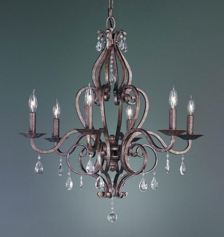 Six light peruvian bronze up chandelier 8k24 dulles electric supply corp