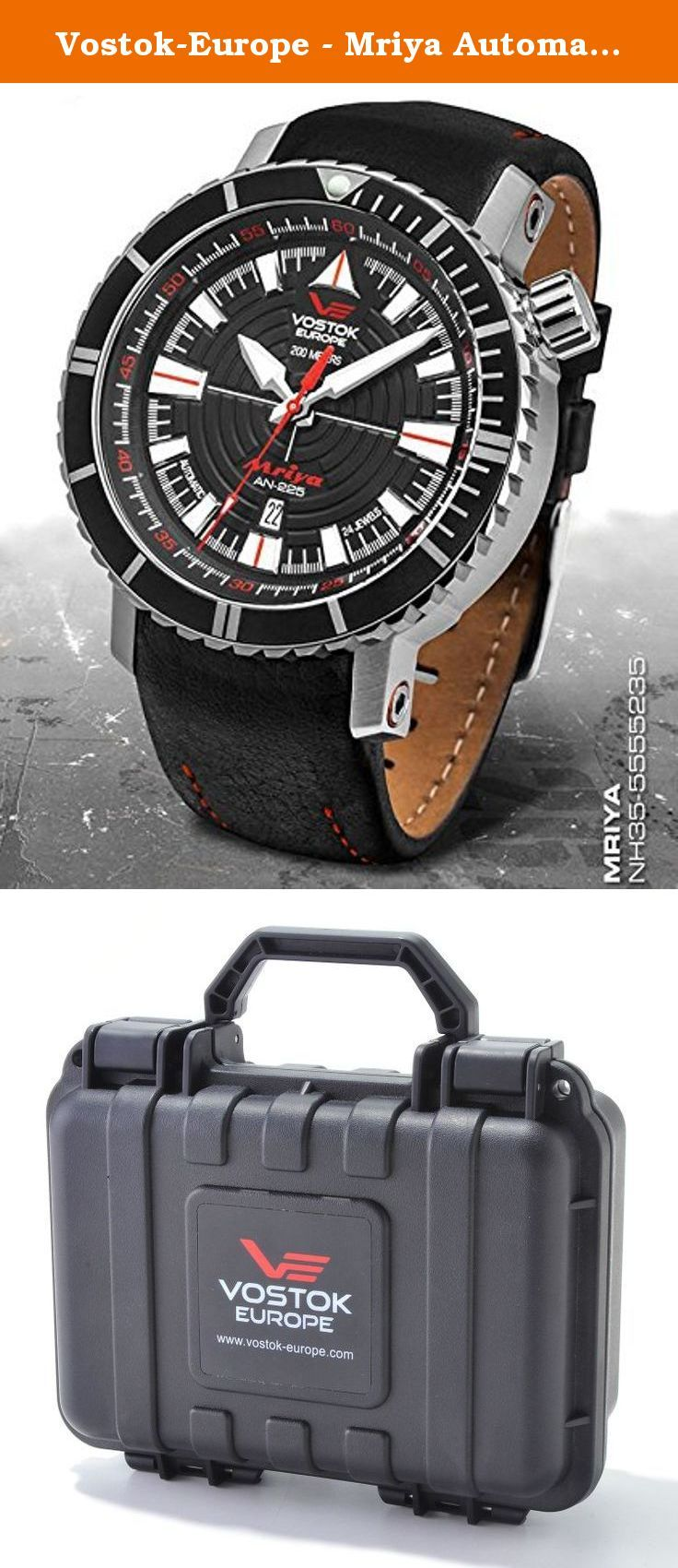 Vostok-Europe - Mriya Automatic - Black/Red/White - NH35-5555235. Vostok-Europe - Mriya Automatic - Black/Red/White - NH35-5555235 - Type: Sport/Casual - Movement: SII NH35 3 Hand Automatic (24 jewels) - Tolerance: Main daily rate from -10 to +30 s/day - Crystal: Hardened K1 Mineral Crystal with anti-reflective coating (the K1 crystal system provides the shatter resistance of mineral and the scrratch resistance of sapphire in one crystal. It is the optimum crystal for rugged, sports and...