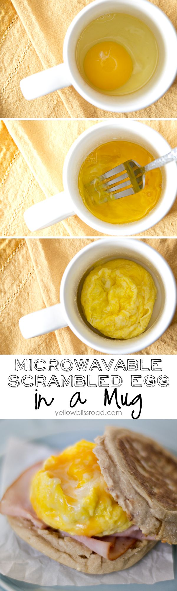 Scrambled Egg in a Mug and a 2 Minute Breakfast Sandwich ......... Spray a microwave safe mug with cooking spray. Crack the egg into the mug and lightly scramble. Season with a pinch of salt and pepper to taste. Place the mug in the microwave and cover with a wet paper towel. Cook on high for 30-40 seconds. Toast the English Muffin to your liking. Spread butter if desired. Top with slice of ham, the egg and shredded cheddar cheese and replace the top of the muffin........  Enjoy hot!..
