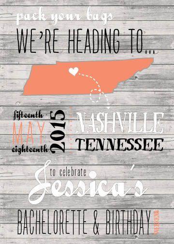 Nashville Bachelorette Invitation by DesigningB on Etsy https://www.etsy.com/listing/236682772/nashville-bachelorette-invitation