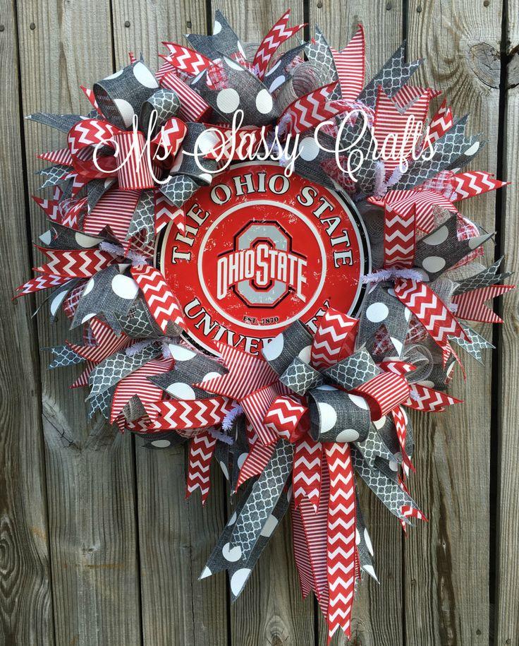 Ohio State Wreath - Ohio State Deco Mesh Wreath - Ohio State Buckeyes Wreath…