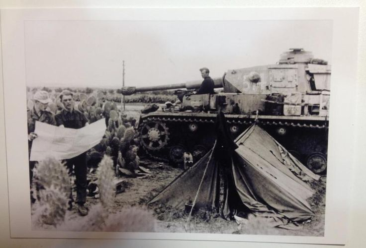 #WorldWarII #Photo Reprint German tank and tankmen with map fighting in Tunisia