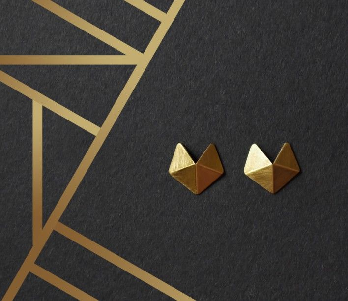 Hexagon - 24k Gold Plated Sterling Silver Stud Earrings by RawObjekt on QRATOR.COM