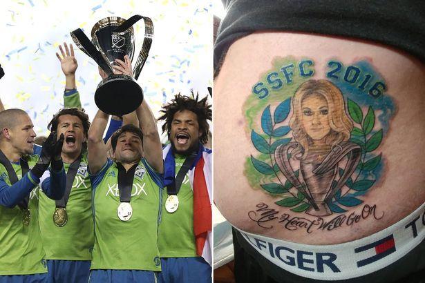 22. Seattle Sounders fan gets CELINE DION tattoo on backside after losing Twitter bet