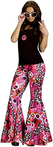 Fun World Hippie Costume Bell Bottom Pants Adult Medium/Large:   Available in small/medium (fits 2-8) and medium/large (fits 10-14), the pants feature psychedelic patterns in pink, black, white and orange and flair below the knee. Fashion in the 1960s and 1970s featured eclectic patterns and fabric. Bell bottom pants could be worn with a flowered top and a suede vest for a hippie look. If you want to be a 1970's disco diva then put on a shiny top, gold jewelry and platform shoes.
