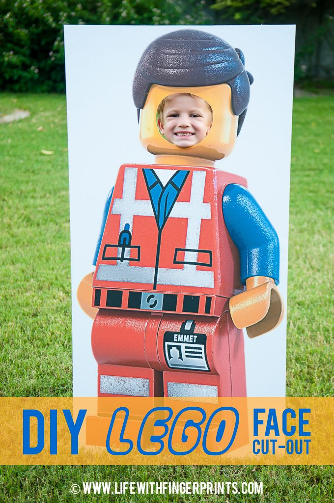 Life with Fingerprints: Lego Birthday Party Photo Op; Lego Mini-Figure Face in the Hole, Face Cut Out