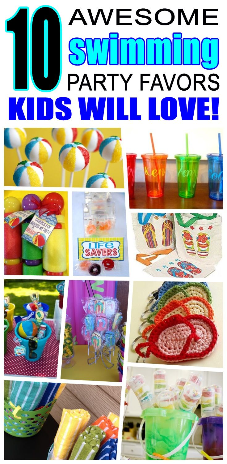Great swimming party favors kids will love. Fun and cool swimming birthday party favor ideas for children. Easy goody bags, treat bags, gifts and more for boys and girls. Get the best swimming birthday party favors any child would love to take home. Loot bags, loot boxes, goodie bags, candy and more for swimming party celebrations.