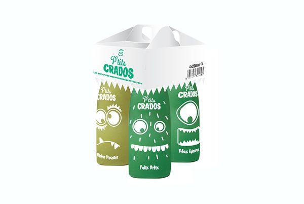 Création logo et packaging de smoothies pour la marque Innocent. « IF YOU CAN'T CONVINCE THEM, CONFUSE THEM.»Harry S. TrumanJe décide d'exploiter cette idée et de faire manger aux enfants des légumes dans des GREEN SMOOTHIES aux noms de petits monst…