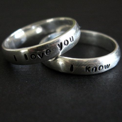 "rings - ""I love you"" and ""I know"".  Brilliant Star Wars reference."