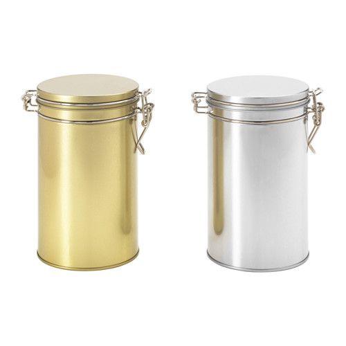HEMSMAK 缶 ふた付き IKEA 気密性の高いふたが食品の風味や香りを逃しません コーヒーや紅茶、乾物などの保存に最適です