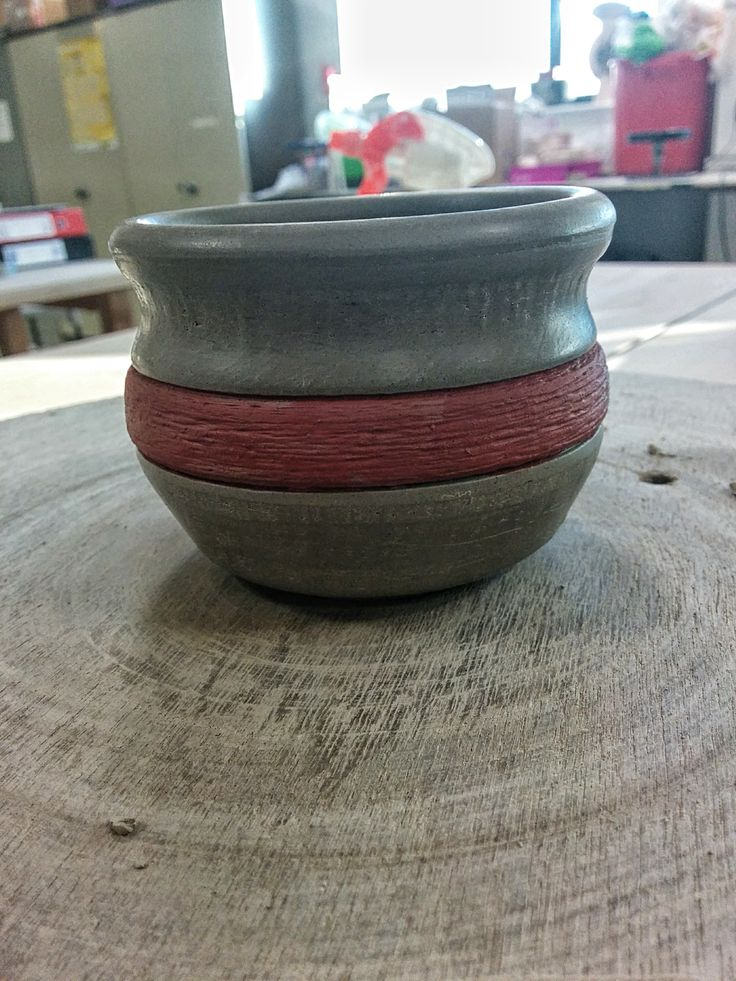 Greenware - Wheel thrown clay plant pot - Iron oxide band - Lewis Ryan
