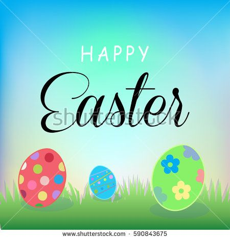 Happy Easter Holiday, Easter eggs, sky, green grass. Greeting card background. Poster Vector Illustration