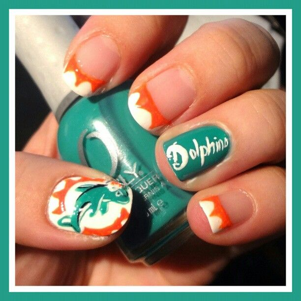 Miami Dolphins Nail Designs   Best Nail Designs 2018