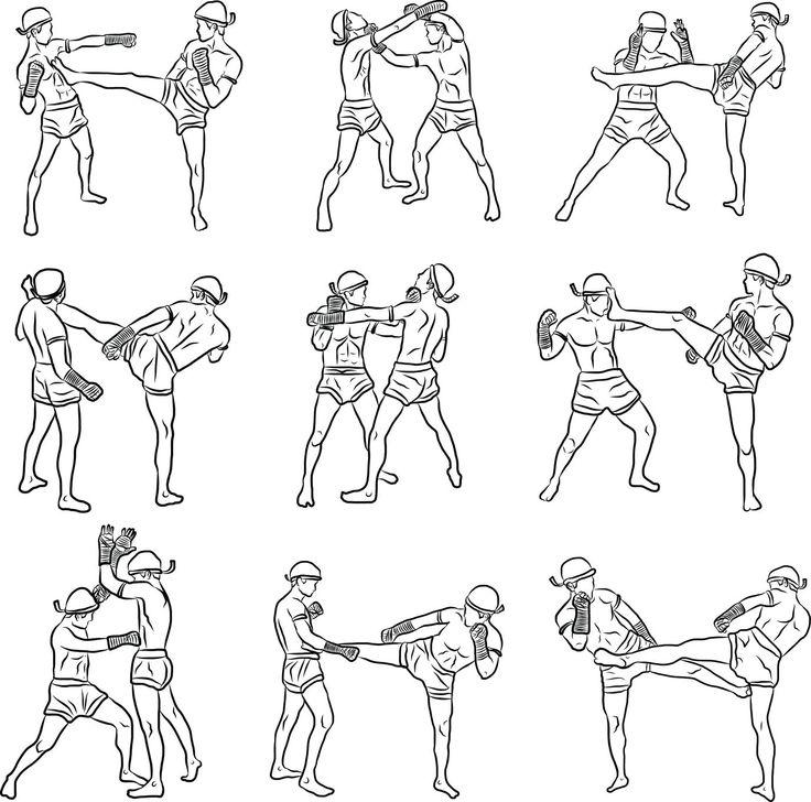 Movimientos de Muay Thai: patadas y puñetazos.