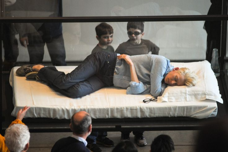 Tilda, napping in a glass box at MoMA. The usual <3