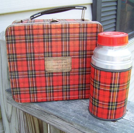 Back to school I still have my plaid lunchbox! I put it out with a red bow at Christmas as part of my decorations! C