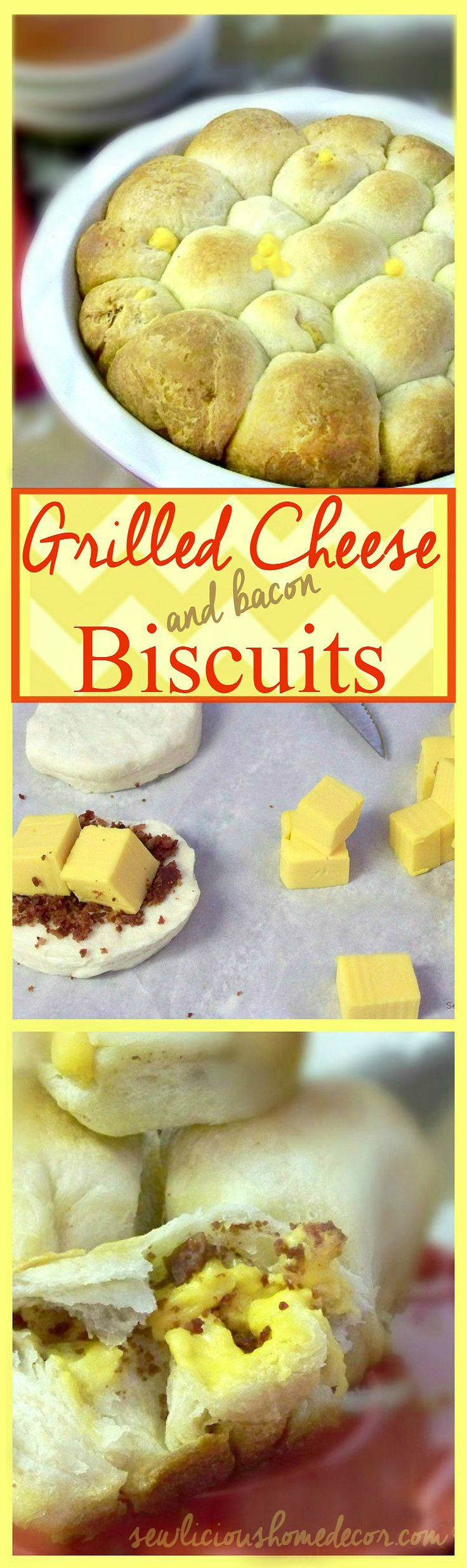 Velveeta Grilled Cheese and Bacon filled Biscuits. sewlicioushomedecor