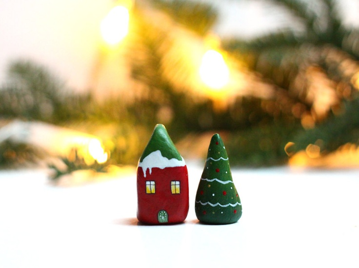 Etsy Transaktion - Christmas clay houses - Little red house and tree