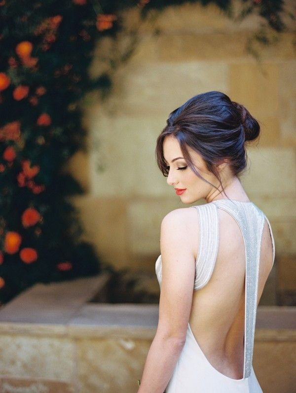 Elegant Bridal Makeup and Hair with a Dramatic Open Back Wedding Dress
