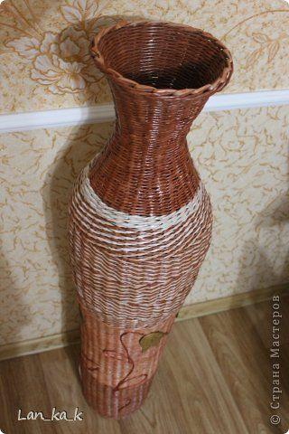 Поделка изделие Плетение Вазы и немного Новогоднего  Бумага газетная Гипс Трубочки бумажные Шпагат фото 6