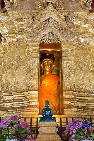 Emerald Buddha and golden Buddha in the main bot of historic Wat Phra That Lampang Luang temple, Lampang, Thailand, Southeast Asia, Asia