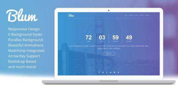 Blum Responsive Coming Soon Bootstrap Template  #webdesign #underconstraction