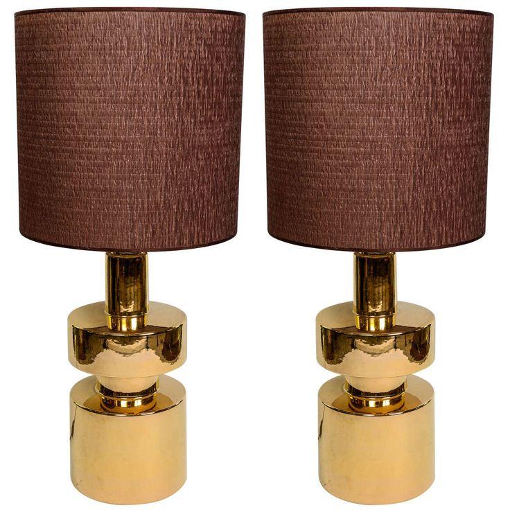 1980s pair of lamps in gilt ceramic