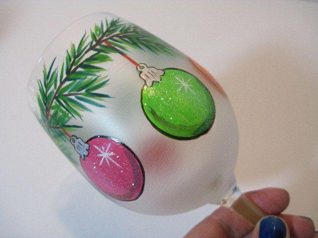 Christmas Ornaments Painted Wine Glass. $33.00, via Etsy.