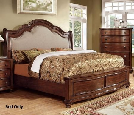 Bellavista Collection CM7350Q-BED Queen Size Bed with Nailhead Trim Padded Fabric Headboard Solid Wood and Wood Veneers Construction in Brown Cherry Finish