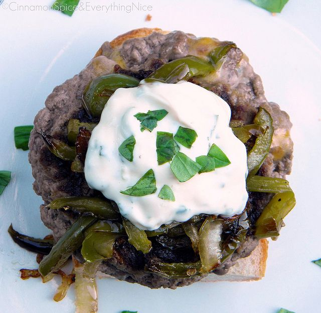 Stuffed Cheeseburgers with Peppers, Onions and Basil Garlic Mayo