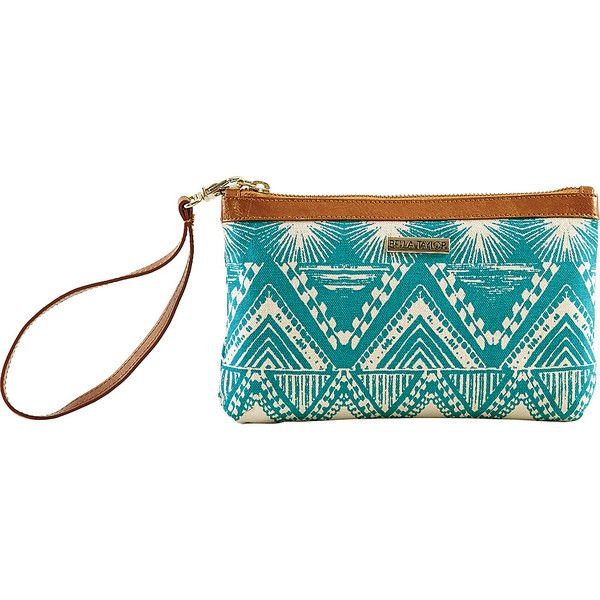 Bella Taylor Tahiti Teal Wristlet Pouch ($14) ❤ liked on Polyvore featuring bags, handbags, clutches, blue, ladies clutch wallets, ladies wallets, pouch wristlet, white purse, tribal purse and wristlet purse