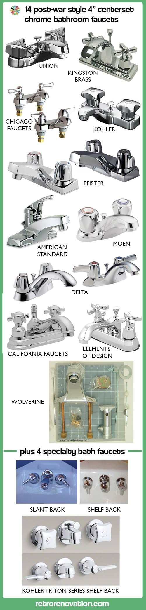 14 four-inch-center bathroom sink faucets suitable for a postwar bathroom - Retro Renovation