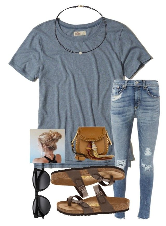 """""""IDK I'm just bored"""" by aehello on Polyvore featuring Hollister Co., rag & bone, Birkenstock, Chloé and Dogeared"""