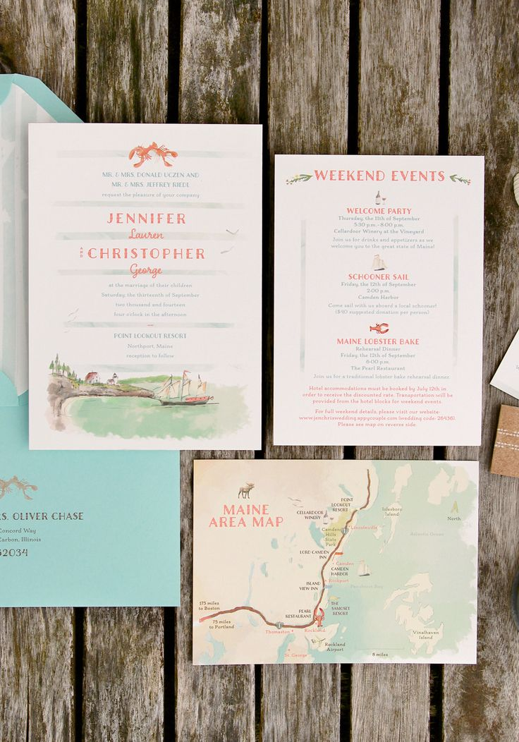 Coastal Maine Inspired Wedding Invitation