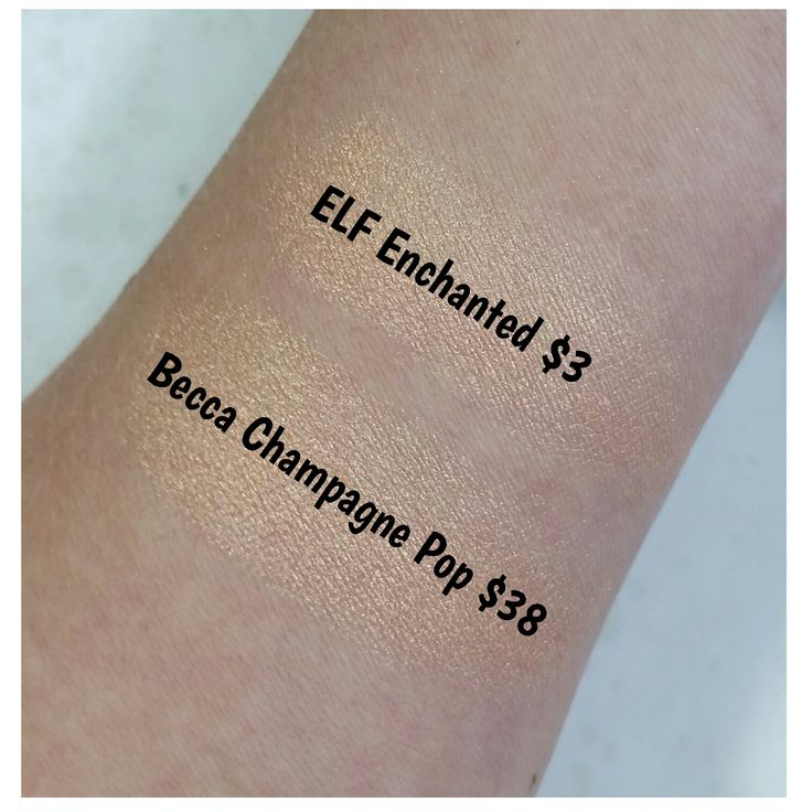 DRUGSTORE DUPES FOR HIGH-END BEAUTY PRODUCTS. Swatches Becca Highlighter CHAMPAGNE POP vs Elf Baked Eyeshadow ENCHANTED