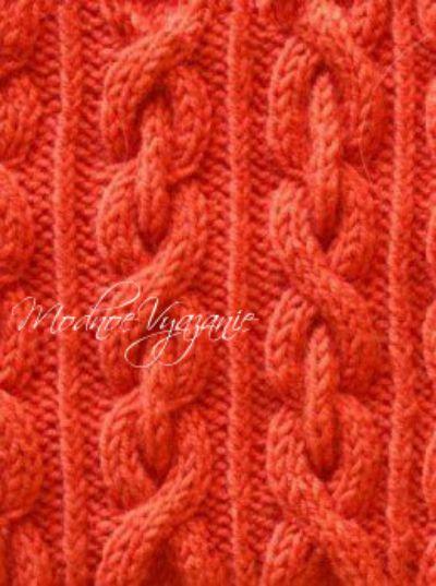 Узоры спицами спрятанная коса и коса-цепь - Модное вязание