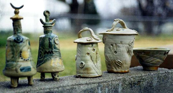 Stoneware jars and a bowl made in the early 1990s.