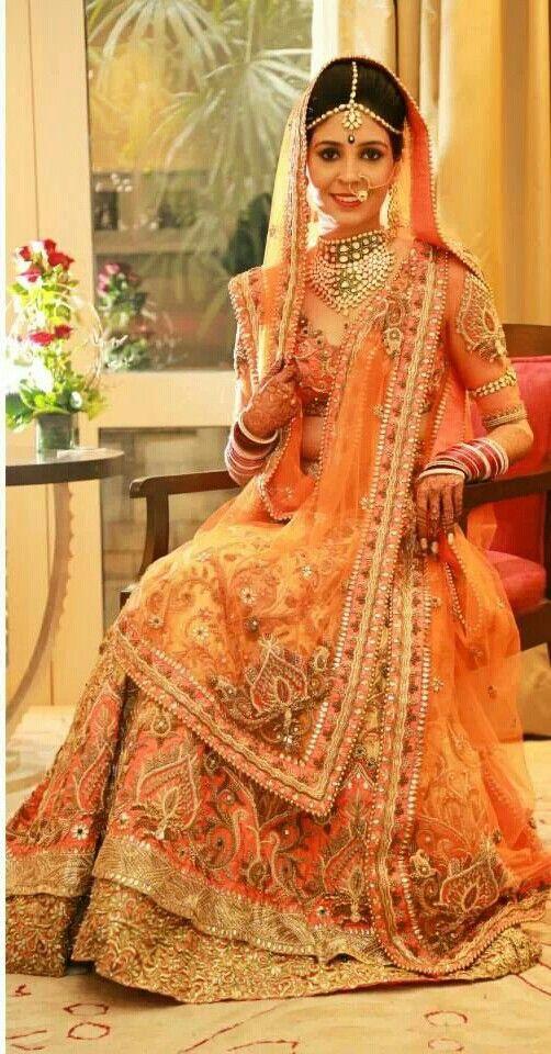 Orange bridal lengha