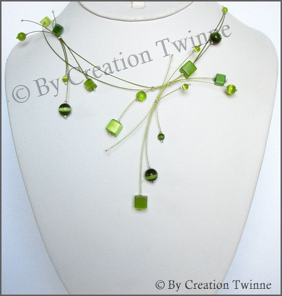 lime green square beads necklace, bridesmaids necklace, delicate necklace, bridesmaids gifts, funky jewelry, fantasy necklace, contemporary. $49.50, via Etsy.