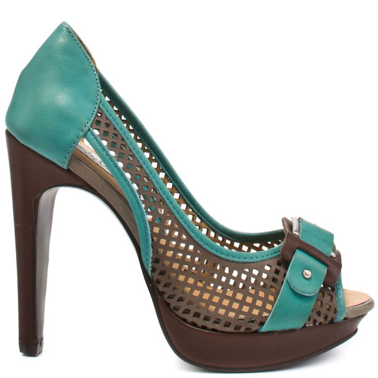 Bat those eyelashes and radiate pure beauty in these peachy pumps from Naughty Monkey.  Flirt has a grey mesh upper trimmed with turquoise leather and a decorative buckle at the vamp.  A brown 4 inch heel and 1/2 inch platform finishes off this seductive style.