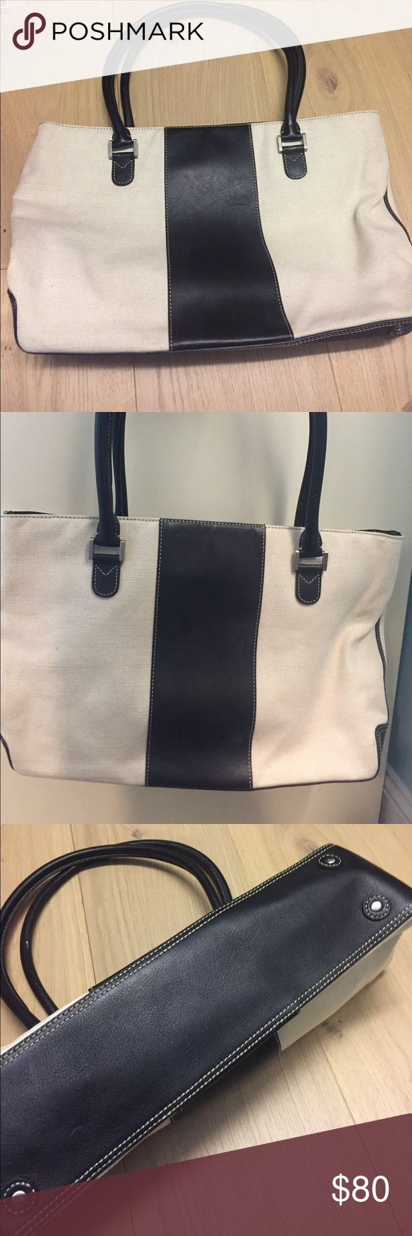 J Crew Summer tote J Crew summer tote with canvas and leather detailing. Barely used and in excellent condition. No signs of wear. Fun interior design with three compartments, and a small zip side pocket. Middle compartment has zipper closure. J. Crew Bags Totes