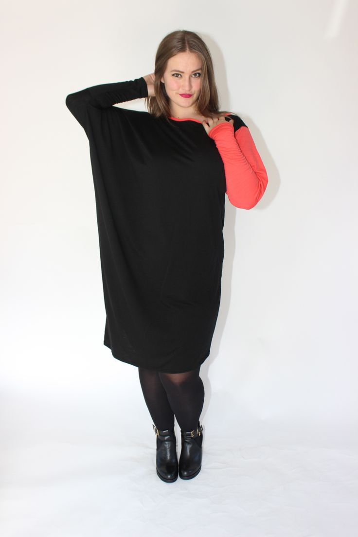 CONTRAST DRESS - BLACK/CORAL