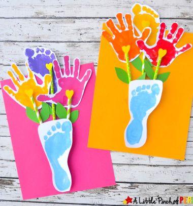 Paper handprint and footprint flowers - fun gift or keepsake idea // Papír virágcsokor kéz és láblenyomatokból - kreatív ajándék // Mindy - craft tutorial collection