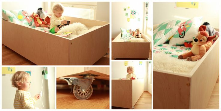 End result: this is it - the actual plywood bed for a little boy. Here you can learn how to do it yourself: https://www.hemtek.fi/fi/blog/diy-projekti-sanky-pienelle-pojalle/