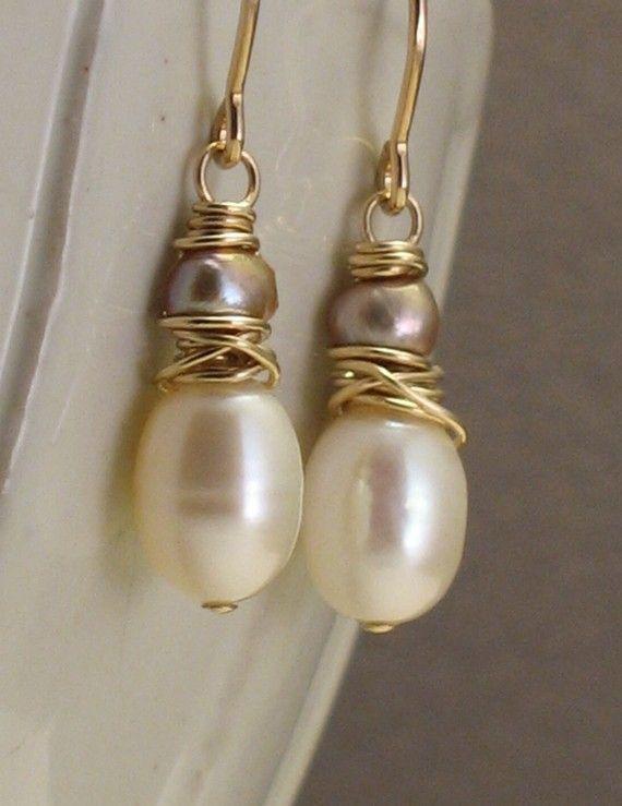 Godiva boucles d'oreilles - perles Ivoire et Champagne sur 14 k Goldfill