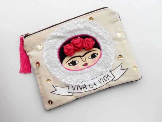 Frida Kahlo Viva la vida big purse special order for by Chunchitos