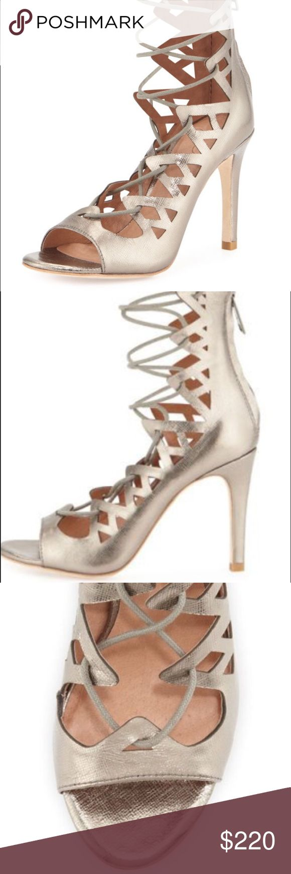 Joie silver pumps BRAND NEW WITH ORIGINAL PACKAGING. Lace up gladiator pumps; 3.8 inches;  back zipper; padded footing; Esther outsoles Joie Shoes Heels