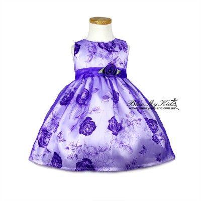 Girls Semi-Sheer Dress DS166 Purple