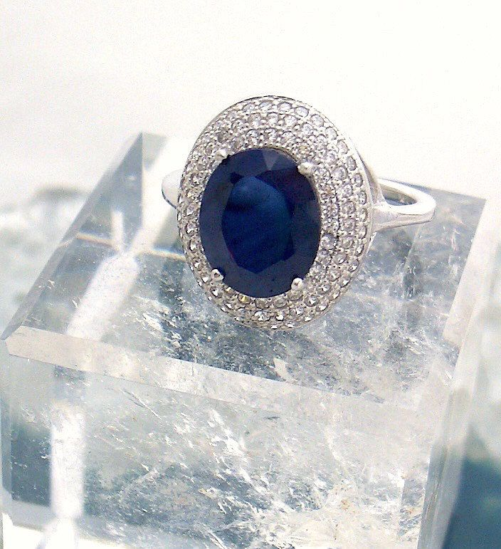 Sz 8, Genuine Dark Blue SAPPHIRE Oval and WHITE TOPAZ Gemstone, 925 Solid Sterling Silver, Engagement, Fashion Ring Fine Jewellery. by AmeogemPreciousJewel on Etsy